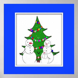 Bonecos de neve & árvore de Natal Posteres