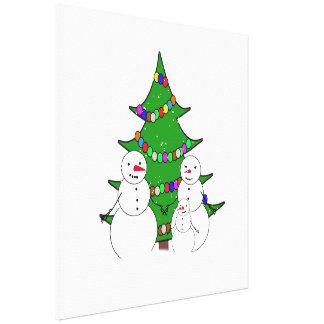 Bonecos de neve com a família da árvore de Natal Impressão De Canvas Esticadas