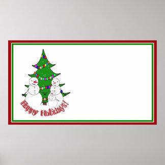 Bonecos de neve com a família da árvore de Natal Poster