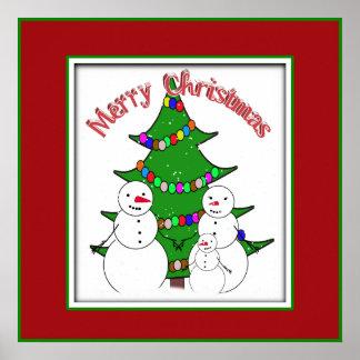 Bonecos de neve com a família da árvore de Natal Posters