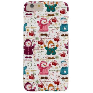 Bonecos de neve do Feliz Natal Capa Barely There Para iPhone 6 Plus