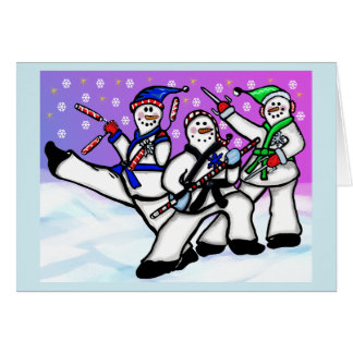 Bonecos de neve do karaté com cartão das armas