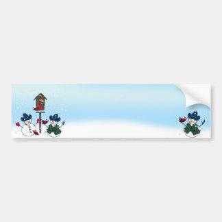 Bonecos de neve do Natal com chapéus de vaqueiro Adesivo