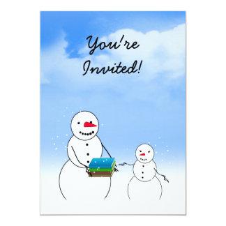 Bonecos de neve dos desenhos animados que vão para convite 12.7 x 17.78cm