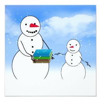 Bonecos de neve dos desenhos animados que vão para convite quadrado 13.35 x 13.35cm