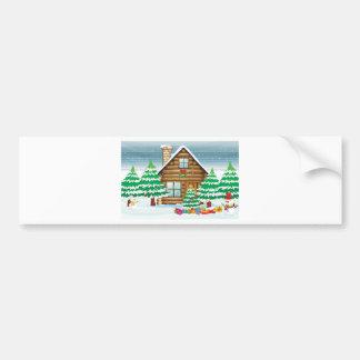 bonecos de neve e casa adesivo para carro