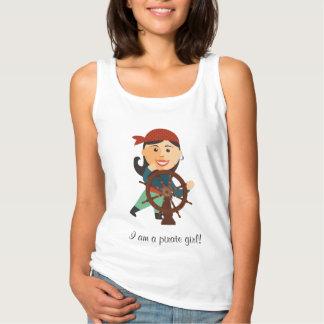 Bonito branco dos t-shirt do pirata das mulheres regata