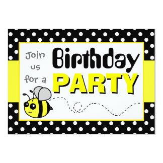 Bonito Bumble a festa de aniversário amarela e Convite 12.7 X 17.78cm