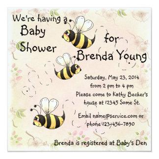 Bonito Bumble o chá do país da flor das abelhas Convite Personalizados