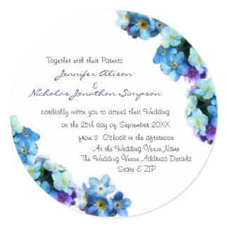 Bonito esqueça-me não as flores que Wedding Convite Quadrado 13.35 X 13.35cm