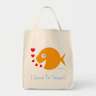 """Bonito """"eu amo ensinar"""" o saco de livro do sacola tote de mercado"""