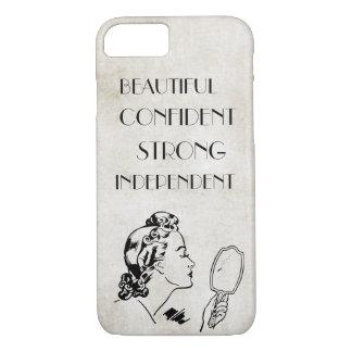 Bonito forte do espelho retro da mulher… capa iPhone 7