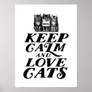 Bonito legal mantem o poster calmo dos gatos do