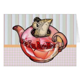 bonito, mãe, dia das mães, rato bonito no bule cartão comemorativo