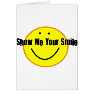 Bonito mostre-me sua camisa do sorriso cartão comemorativo