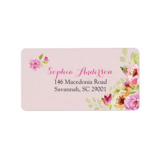 Bonito na etiqueta de endereço cor-de-rosa