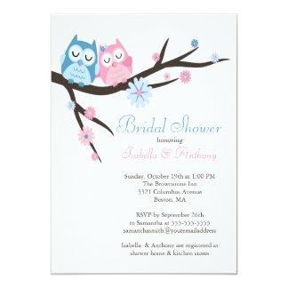 Bonito no chá de panela do casal da coruja do amor convite 12.7 x 17.78cm