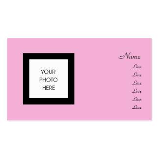 Bonito no quadro cor-de-rosa da foto cartão de visita