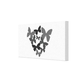 Bonito preto borboletas lona esticada impressão de canvas envolvida