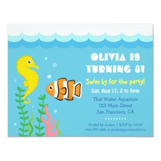 Bonito sob a festa de aniversário do aquário do convite 10.79 x 13.97cm