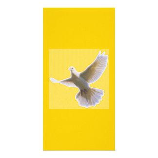 Bookmarker da pomba do ouro cartão com foto