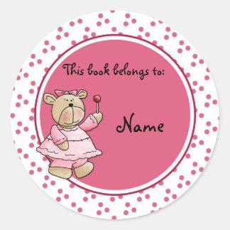 Bookplate bonito do baer do ursinho do bebê adesivo