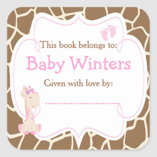 Bookplate do chá da menina do rosa do girafa do adesivo quadrado