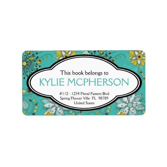 Bookplate floral personalizado do teste padrão do  etiqueta de endereço