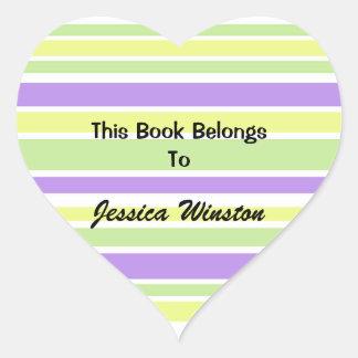 Bookplates listrados amarelos roxos adesivo de coração