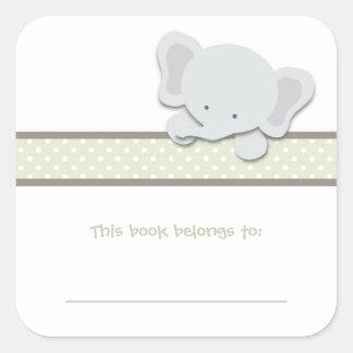 Bookplates pequenos do elefante {verde}   adesivo quadrado