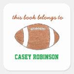 Bookplates personalizados futebol para miúdos adesivo em forma quadrada