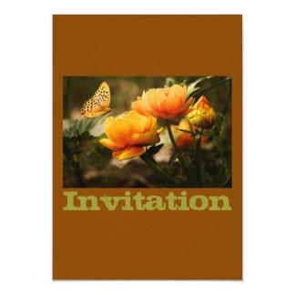 Borboleta amarela dourada convite 12.7 x 17.78cm