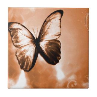 Borboleta animal abstrata Brown Azulejos De Cerâmica