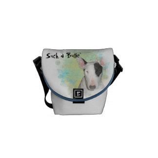 Borboleta azul branca de bull terrier mini bolsas mensageiro