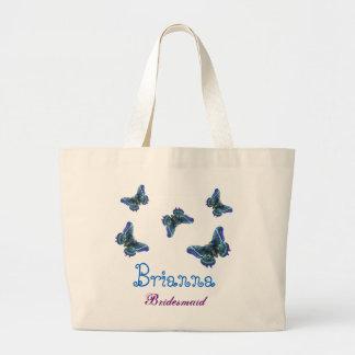 Borboleta azul dama de honra conhecida personaliza sacola tote jumbo