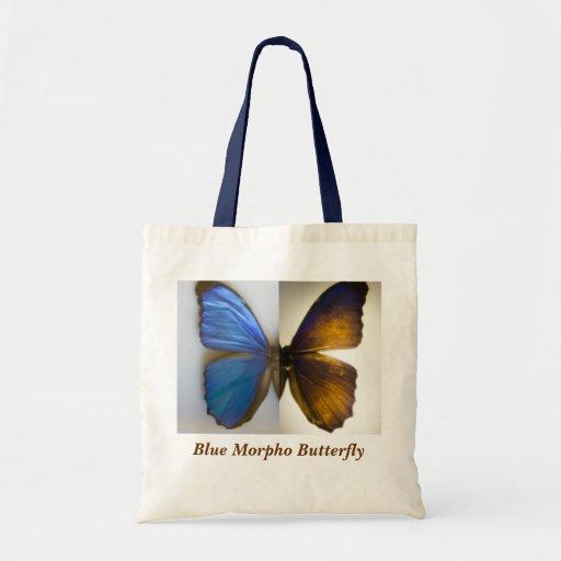 Borboleta azul de Morpho Bolsas Para Compras