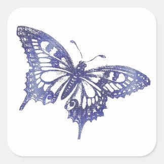 Borboleta azul do vitral do mosaico adesivo quadrado