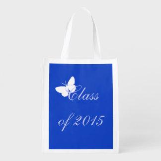 Borboleta azul e branca da graduação customizável  sacola reusável