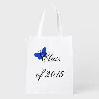 Borboleta azul e branca da graduação customizável  sacola ecológica para supermercado