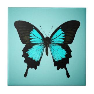 Borboleta - azul e preto de turquesa azulejo quadrado pequeno