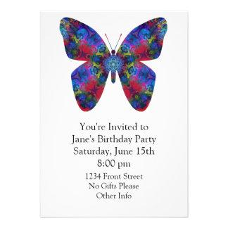 Borboleta azul e vermelha da fantasia da mandala convites personalizados