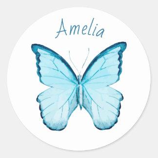 Borboleta azul etiqueta conhecida personalizada do