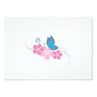 borboleta azul, flores cor-de-rosa convite 12.7 x 17.78cm