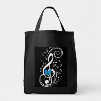Borboleta azul musical sacola tote de mercado
