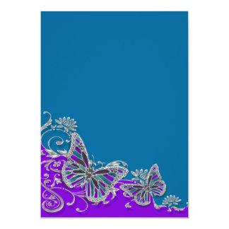 Borboleta azul roxa do casamento floral convite 12.7 x 17.78cm