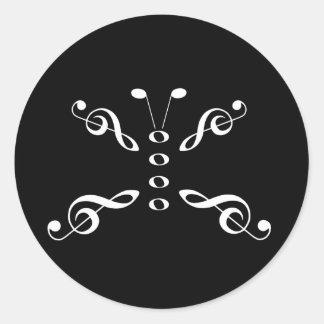 Borboleta branca dos símbolos de música adesivo
