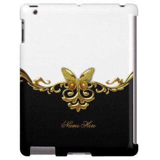 Borboleta branca preta do ouro capa para iPad