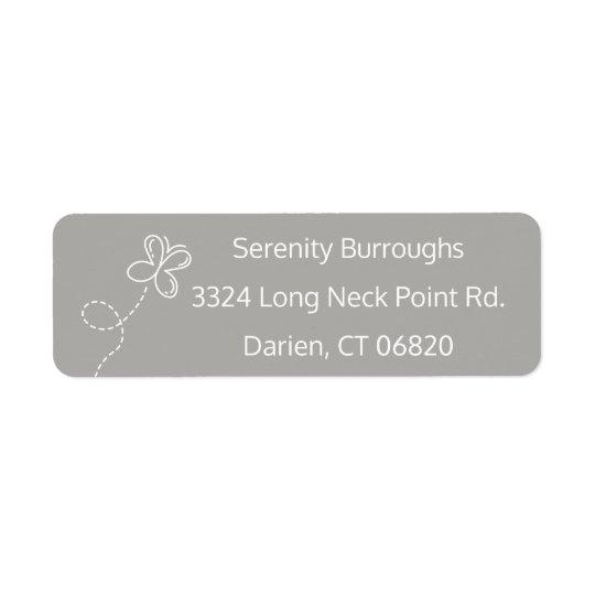 Borboleta cinzenta & branca personalizada etiqueta endereço de retorno