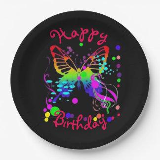Borboleta colorida brilhante em placas de papel prato de papel