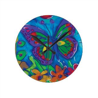 Borboleta colorida relógios para paredes